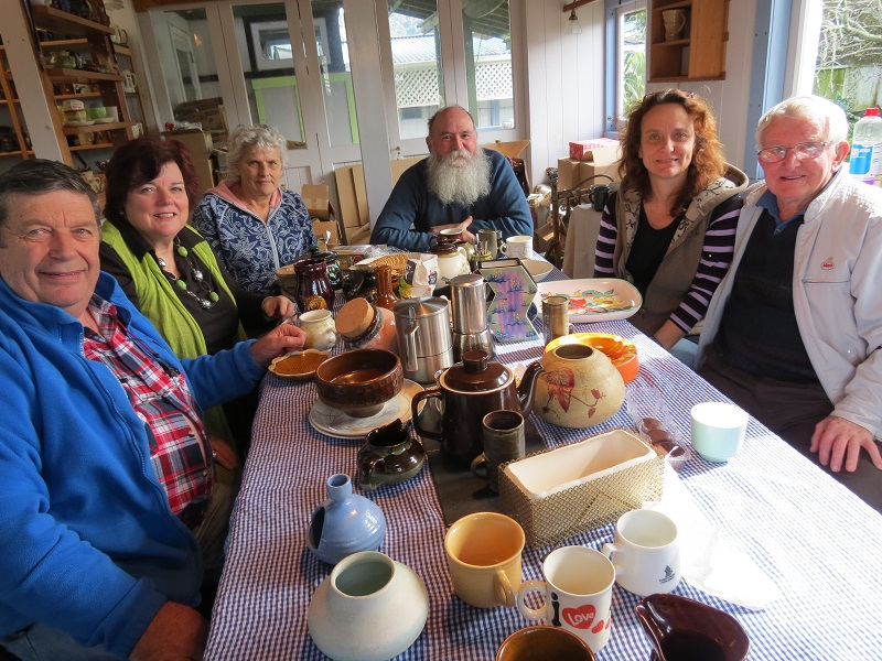 Our NZ Pottery group at 'work' Potter10
