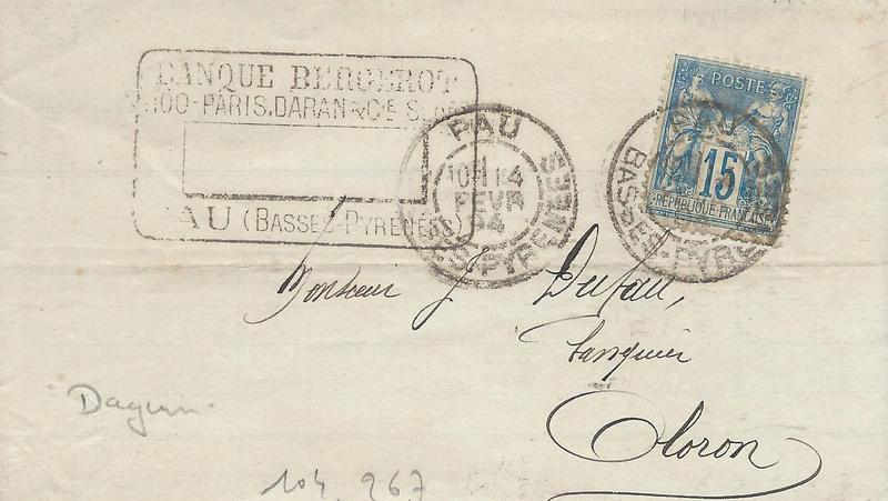 Losanges de PARIS 1852 /1863 chiffres bâton ou romaines 64_pau10
