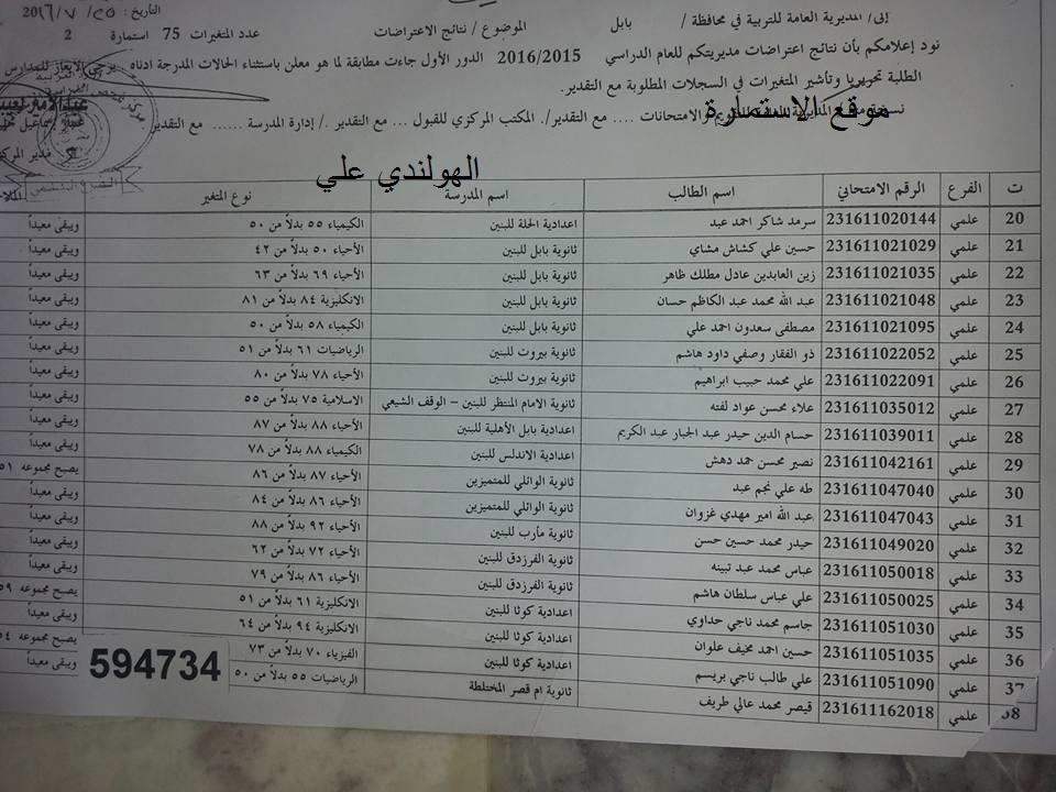 نتائج اعتراضات محافظة بابل الدور الاول 2016 السادس الاعدادي 0211