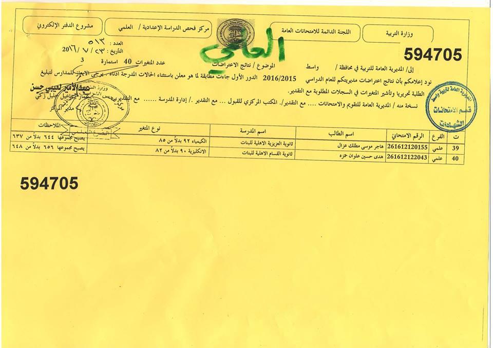 نتائج اعتراضات واسط امتحانات السادس الاعدادي الدور الاول 2016/2015  0310