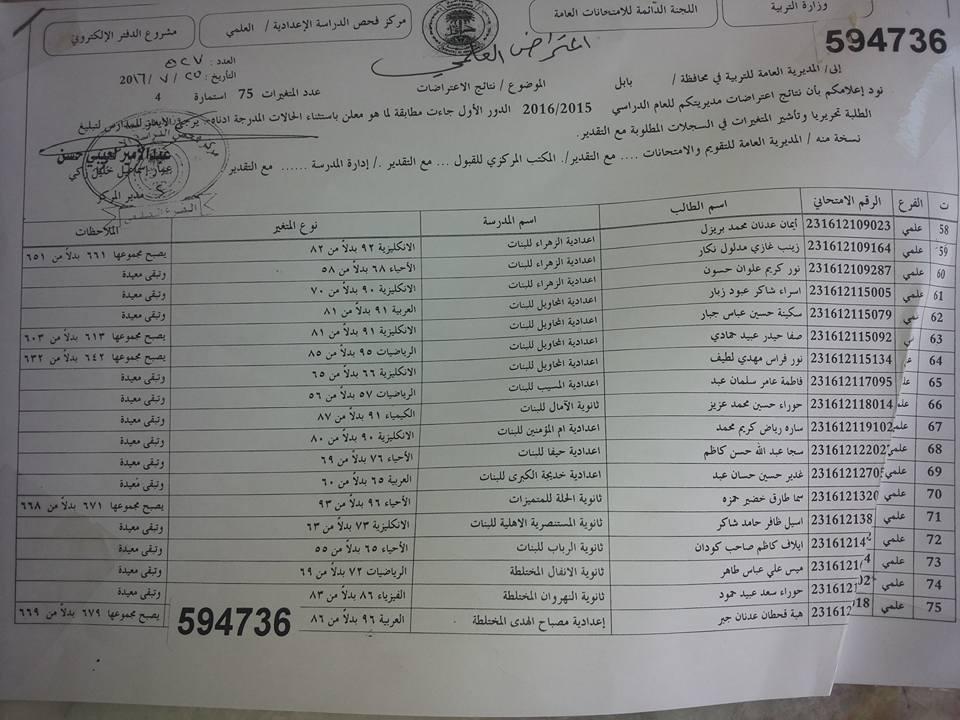 نتائج اعتراضات محافظة بابل الدور الاول 2016 السادس الاعدادي 0510