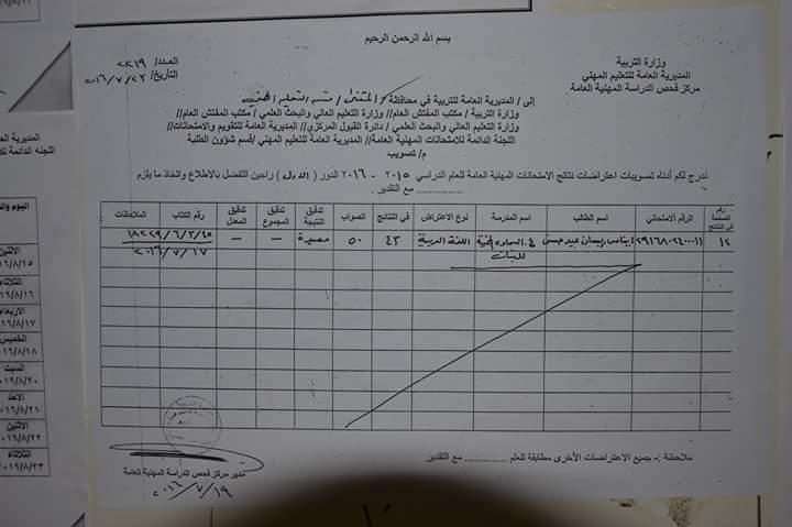 محافظة المثنى عن نتائج اعتراضات طلبة المراحل الاعدادية العلمي الادبي والمهني 2016 E10