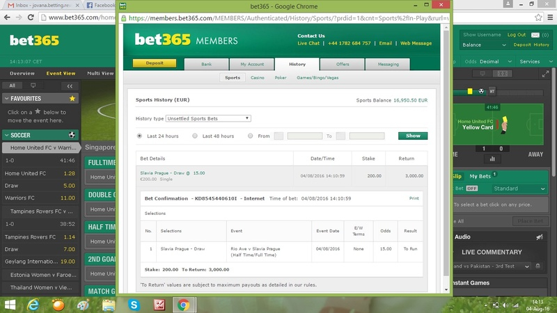 4.August 2016-Jovana's fixed game with odd 15,00 Slavia10