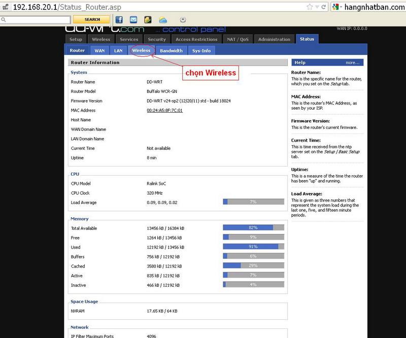 Hướng dẫn chung thiết lập cấu hình router BUFFALO up bản DD-WRT thu phát sóng Wifi Repeat13