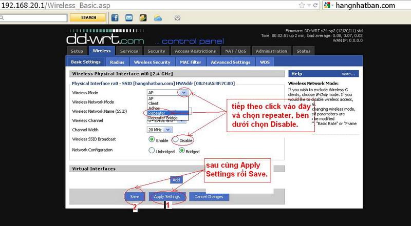 Hướng dẫn chung thiết lập cấu hình router BUFFALO up bản DD-WRT thu phát sóng Wifi Repeat17