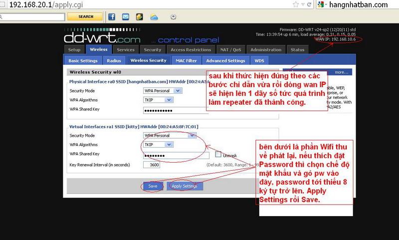 Hướng dẫn chung thiết lập cấu hình router BUFFALO up bản DD-WRT thu phát sóng Wifi Repeat22