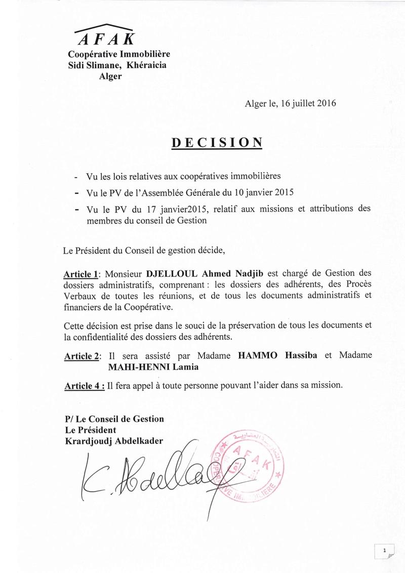 PV DE REUNION ET DECISIONS DU CONSEIL DE GESTION DE LA COOPERATIVE AFAK DU 16 et 20 JUILLET 2016 2016-010