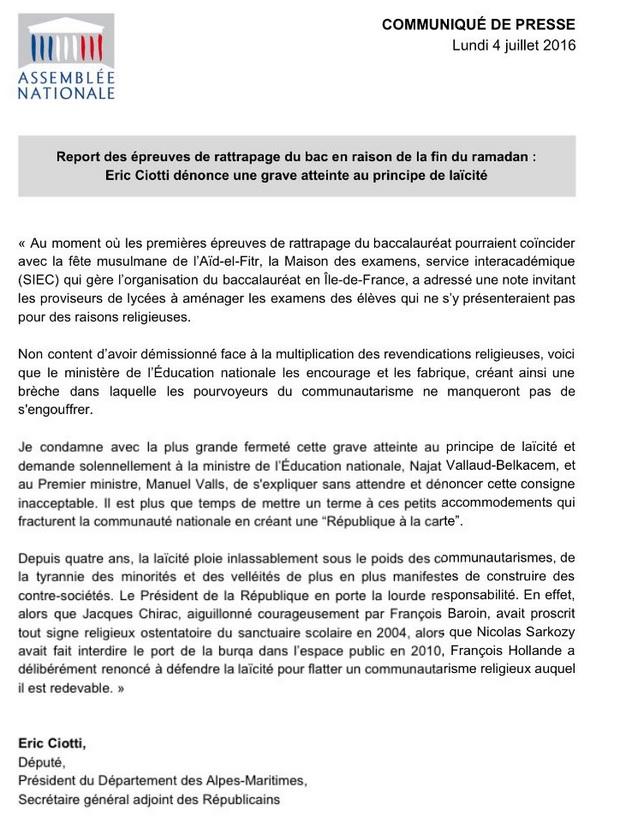 LAICITE AN Ciotti dénonce le report du BAC pour les islamistes Laicit10