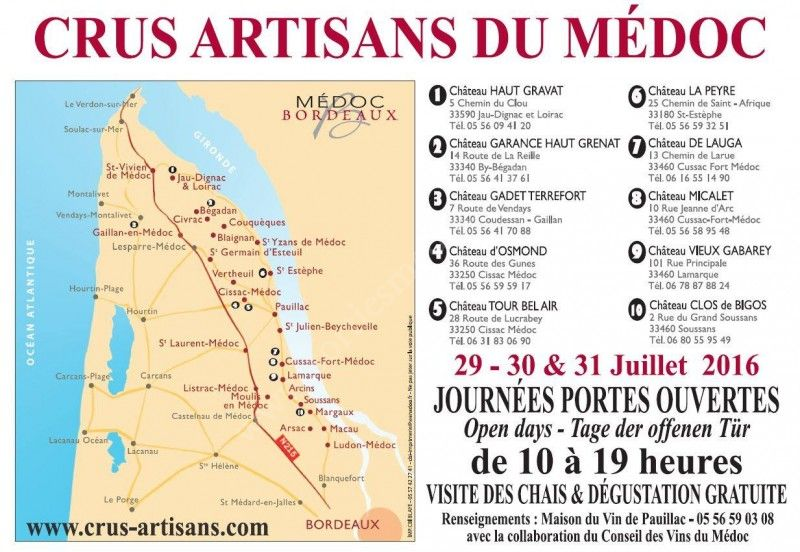Journée Portes Ouvertes Crus Artisans du Médoc du 29/07/2016 au 31/07/2016 9e088810