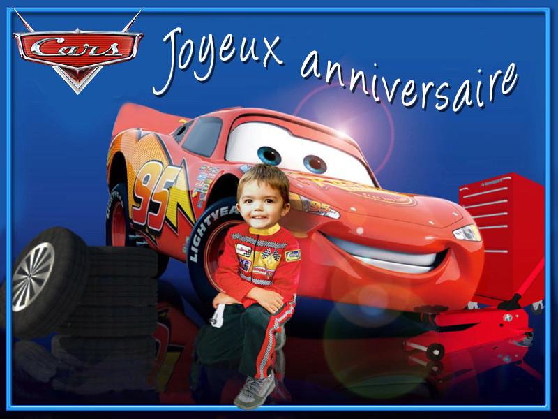 bonjour serait il possible davoir un montage avec cars pour les 3 ans de mon fils svp merci Carsth10