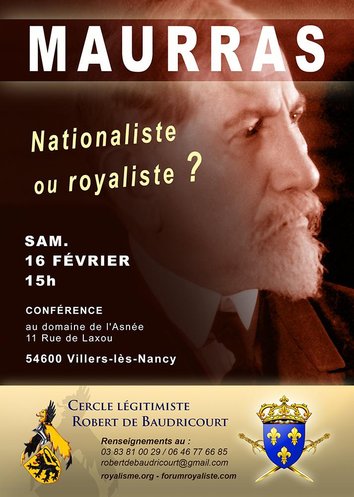 Conférence : Maurras, nationaliste ou royaliste ? - sam. 16 fév. - Villers-lès-Nancy Conf_m10