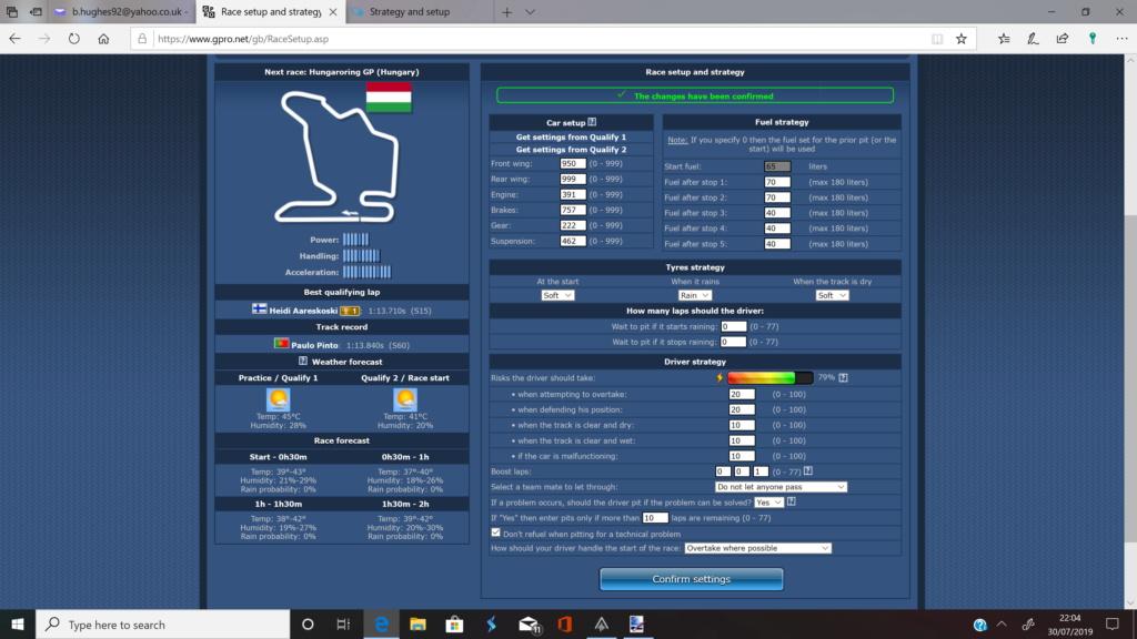 Strategy and setup Race_s10