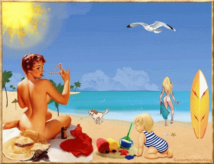 """Illustrations ... pour l'été ... Plage et """"farniente"""" ... E776d710"""