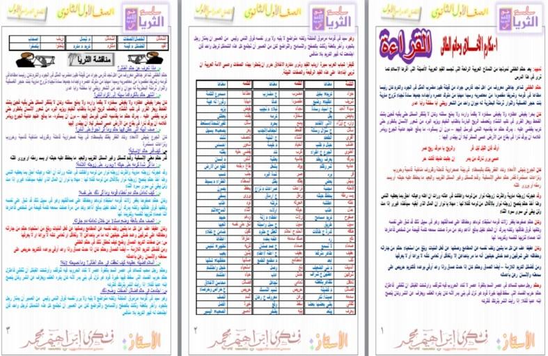 اقوى مذكرة لغة عربية اولي ثانوي المنهج كامل من سلسلة الثريا 2017 بتنسيق رائع  0444510
