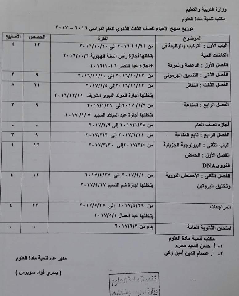 توزيع منهج الاحياء للمرحلة الثانوية للعام الدراسي 2016 / 2017 14199310