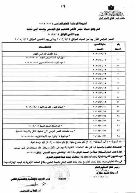 الخريطة الزمنية الرسمية للعام الدراسي 2016-2017 من وزارة التربية والتعليم pdf  236