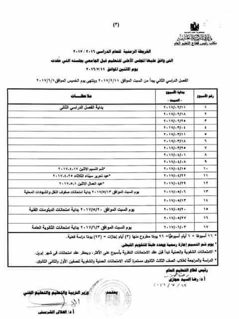 الخريطة الزمنية الرسمية للعام الدراسي 2016-2017 من وزارة التربية والتعليم pdf  333