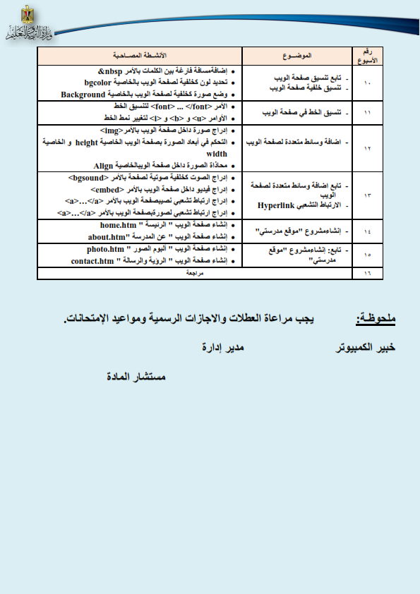 توزيع مناهج الحاسب الالي الجديدة 2017 للصفوف الاول والثاني والثالث الاعدادي Curric13
