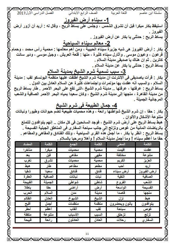 اول مذكرة لغة عربية كاملة شاملة للرابع الابتدائي ترم أول2017 منهج معدل - صفحة 2 O_eo_o11