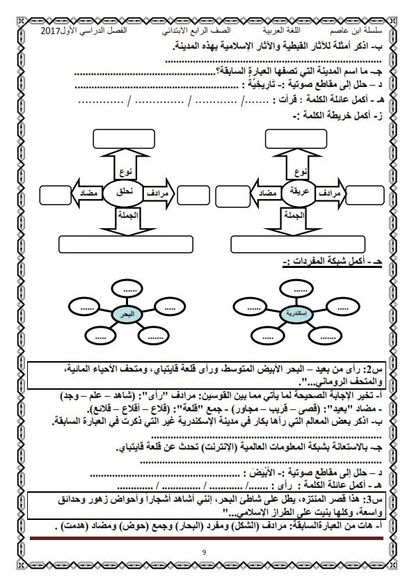 اول مذكرة لغة عربية كاملة شاملة للرابع الابتدائي ترم أول2017 منهج معدل - صفحة 2 O_eo_o15