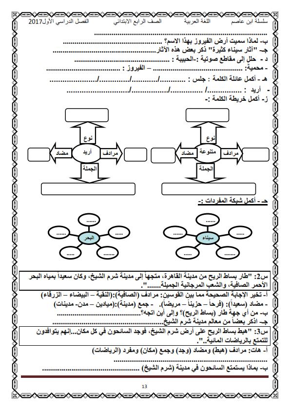 اول مذكرة لغة عربية كاملة شاملة للرابع الابتدائي ترم أول2017 منهج معدل - صفحة 2 O_eo_o17