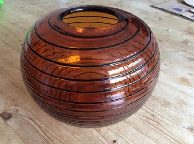 anyone identify maker of this amber ovoid art glass bowl Img_1210