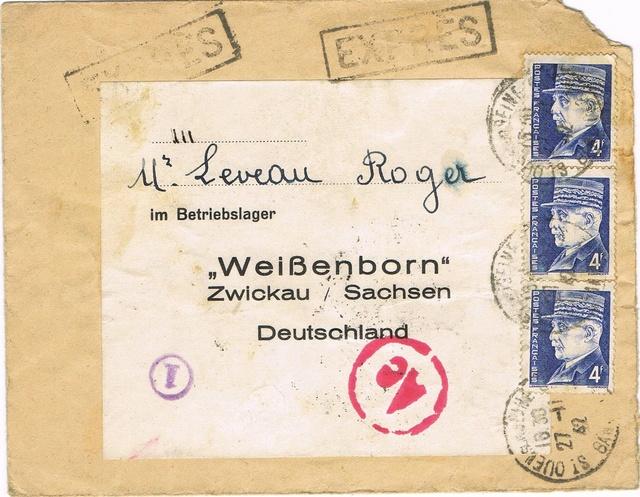 Etiquette  avec adresse pré-imprimée du camp d'hébergement de l'entreprise sur courrier STO vers l'Allemagne Ccf19010