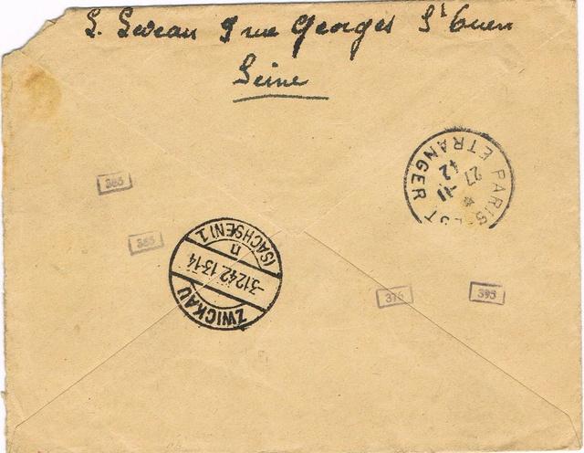 Etiquette  avec adresse pré-imprimée du camp d'hébergement de l'entreprise sur courrier STO vers l'Allemagne Ccf19012