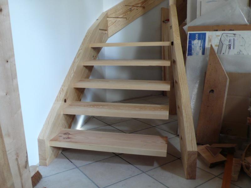 Escalier provisoire devenu définitif en pin sylvestre, à double balancements - Page 3 L1040626