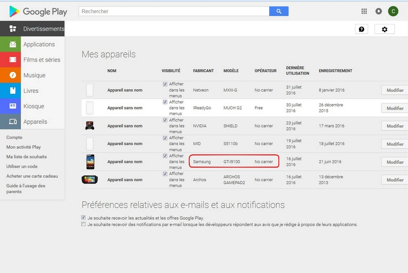 Portable inconnu sur mon compte GooglePlay Google12
