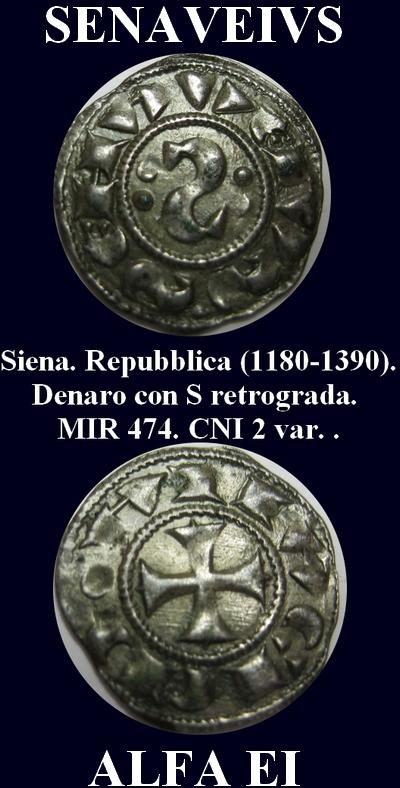 """Denier à l""""S"""" rétrograde de la République de Sienne (1180-1390) Roger410"""