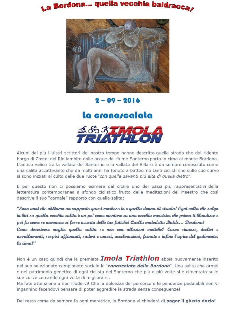 Campionato sociale 2016 - 10° Prova - Venerdi 2/09/2016 - Cronoscalata Bordona A10