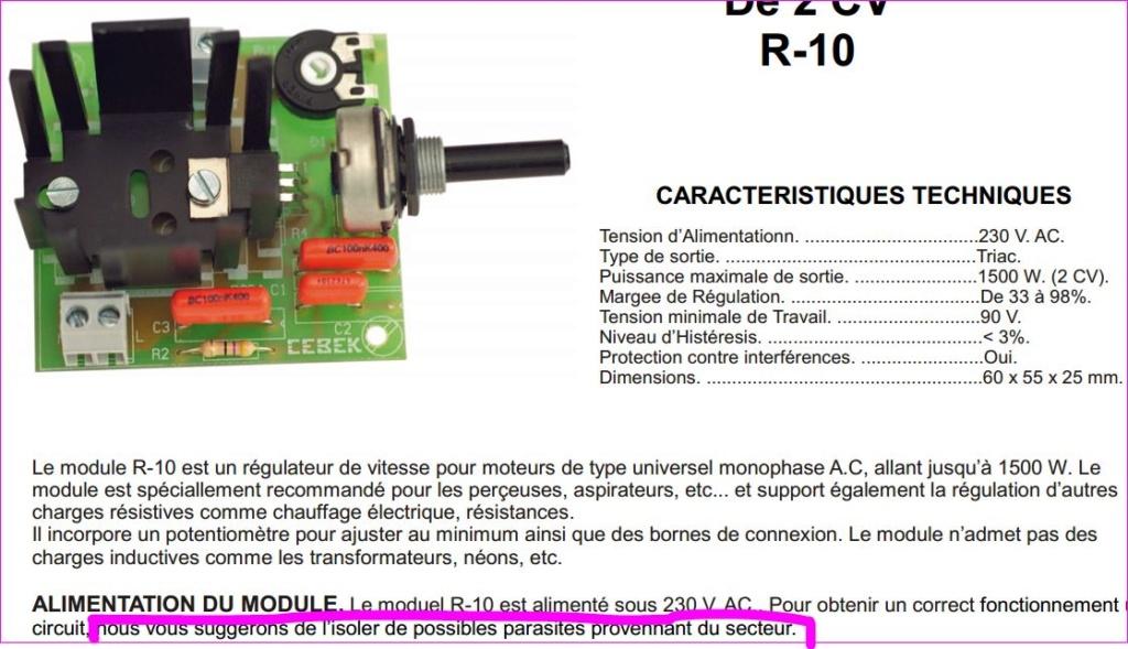 Branchement Variateur Choix sur Mot Universel 450W 220V  Module12