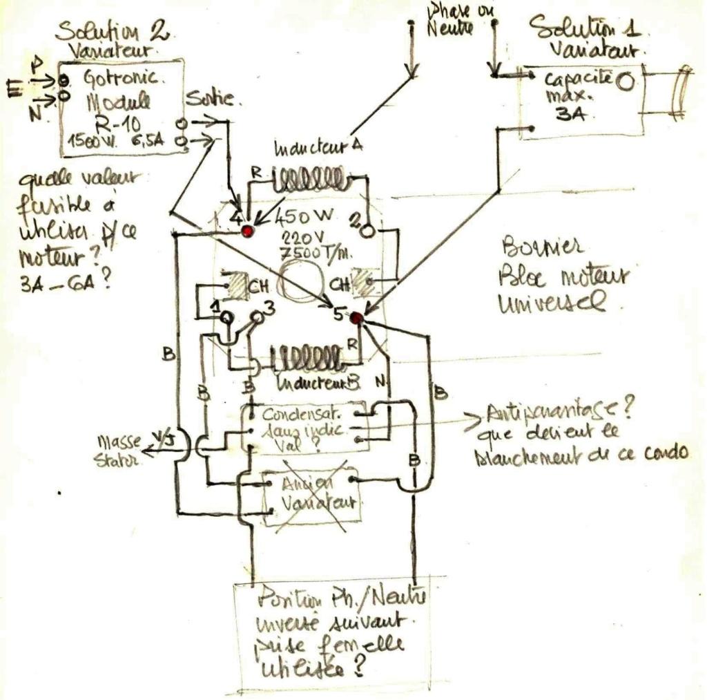 Branchement Variateur Choix sur Mot Universel 450W 220V  Schzom12