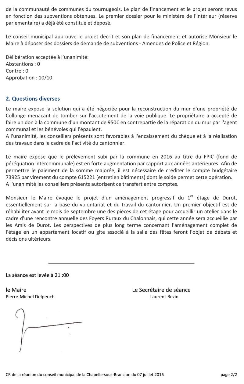 Compte rendu du Conseil Municipal de La Chapelle-sous-Brancion Date : 07 juillet 2016 Cr_cm110