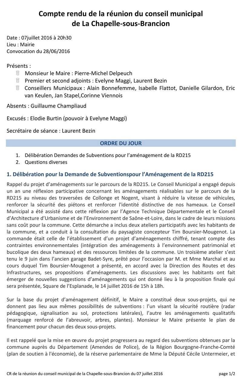 Compte rendu du Conseil Municipal de La Chapelle-sous-Brancion Date : 07 juillet 2016 Cr_cm111