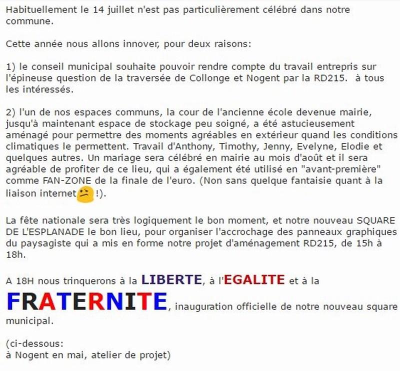 Invitation 14 Juillet 2016 SQUARE DE L'ESPLANADE de COLLONGE Hameau de La Chapelle-sous Brancion Invita10