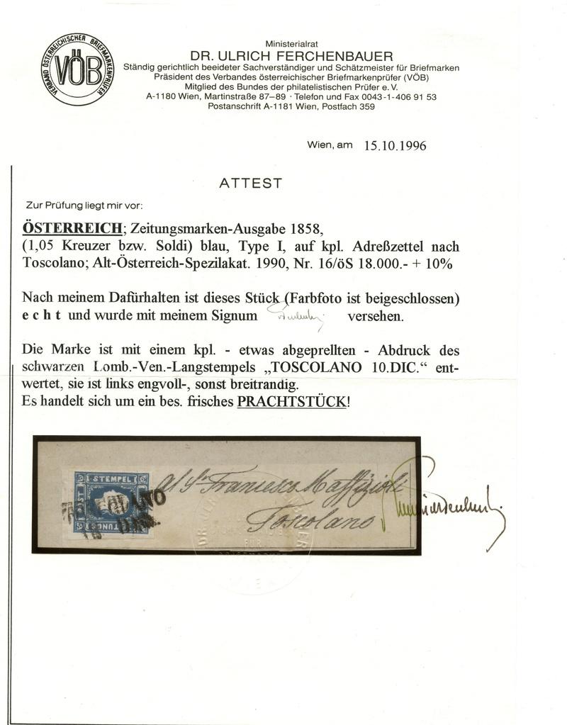 DIE ZEITUNGSMARKEN AUSGABE 1858 Ank_1610