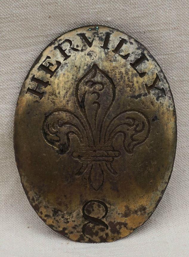 PLAQUE de Baudrier de l'Armée des Émigrés du Régiment d'Hervilly Auray 310