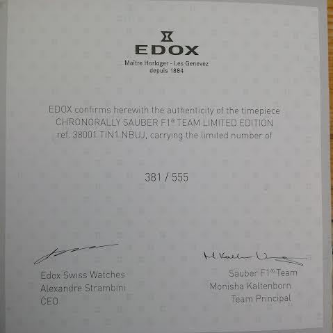 EDOX Chronorally Sauber F1 Team Limited Edition Certif10