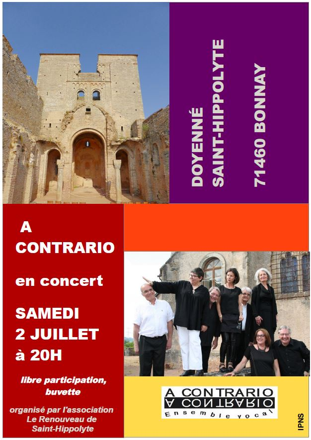 Saint-Hippolyte: concert de l'ensemble vocal A CONTRARIO, samedi 2 juillet à 20h Affich10