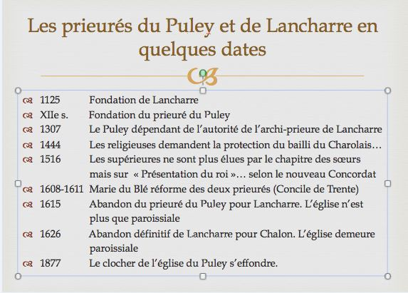 """""""Les inhumations dans les églises avant 1776. En particulier aux prieurés du Puley et de Lancharre."""" Conférence donnée dans la salle de la mairie du Puley, le 27 juillet à 18h. Le_pul11"""