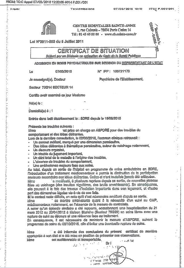 Certificat répété du CMP Régnier Paris 15eme
