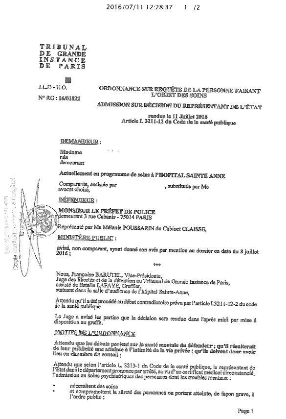 Le jugement du 11 juillet 2016 en faveur d'Ingrid