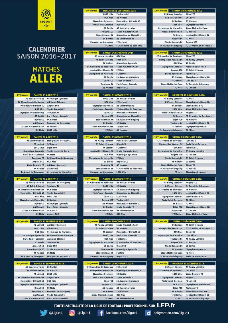 [Ligue 1] Calendrier saison 2016-2017 140