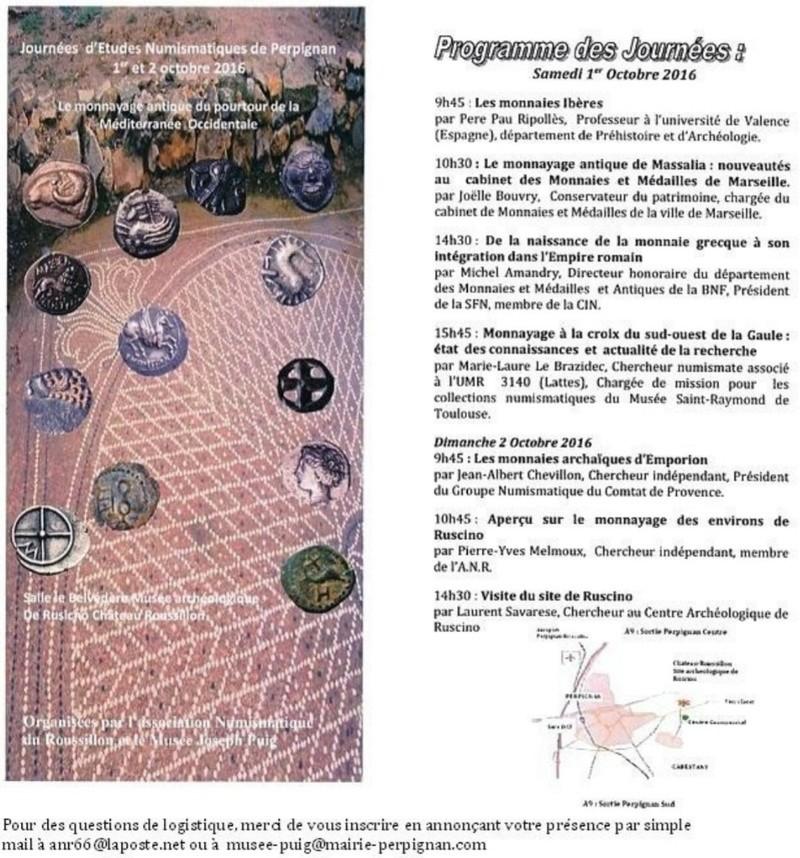 Journées d'études numismatiques de Perpignan 1er et 2 octobr Picsar28