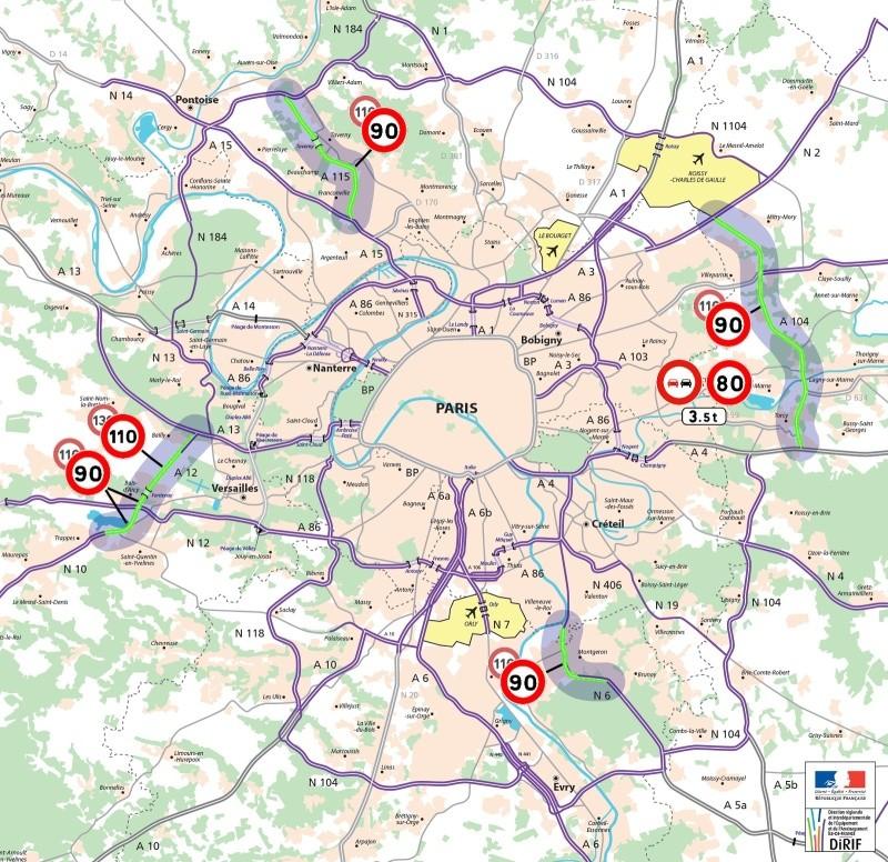 réduction de la vitesse région parisienne Carte-10