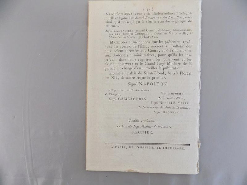 Bulletin des lois n°1 - 1804 - proclamation de l'Empire Dscn0625