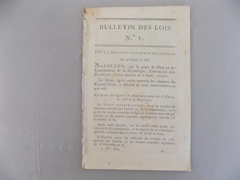Bulletin des lois n°1 - 1804 - proclamation de l'Empire Dscn0626