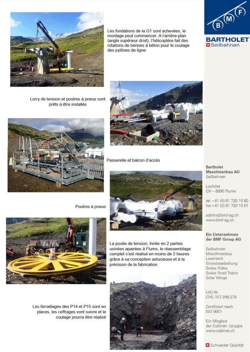 Construction télésiège débrayable (TSD6) Boismint, Chantiers été 2016 Val Thorens Bmf10